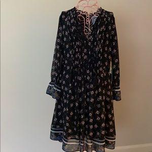 Floral, pleat front, tassel close new dress